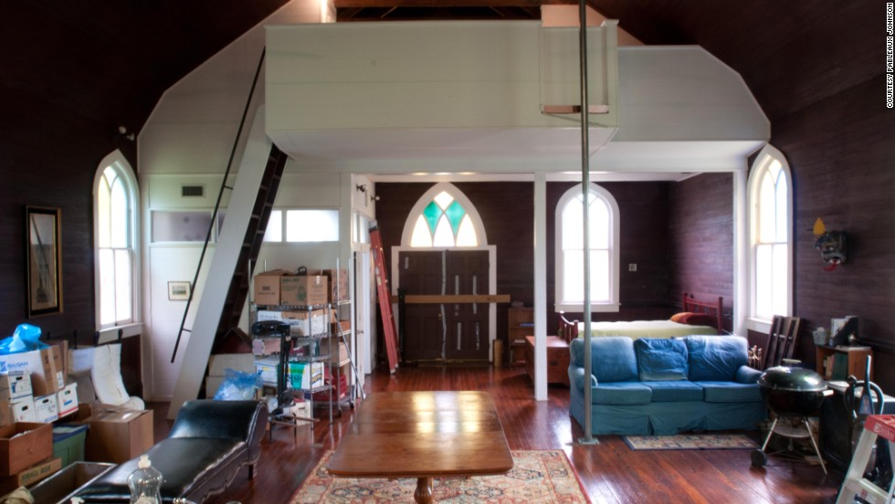 With the help of friends, Johnson built the loft that became the master bedroom.