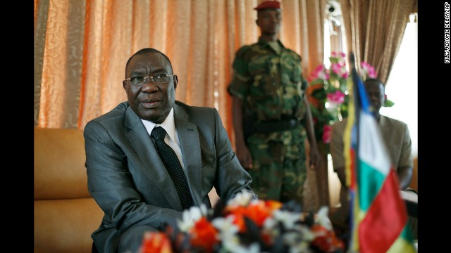 Michel Djotodia, Central African Republic's president, gives a press conference in his office in Bangui on December 8.