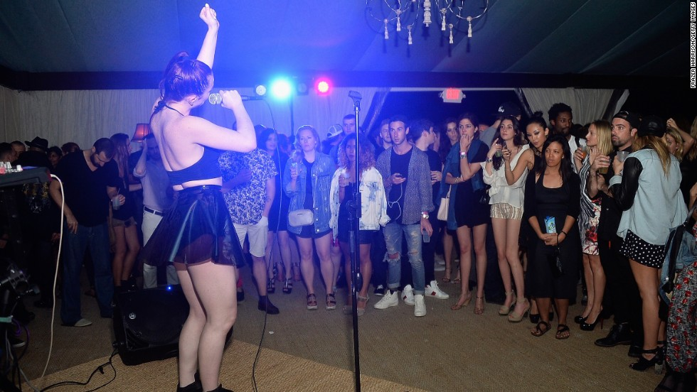 Zoe and Adam of ASTR perform during Art Basel at Soho Beach House on Saturday, December 7, 2013 in Miami Beach.