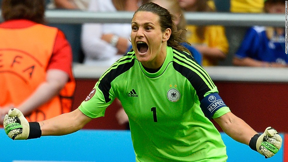 German goalkeeper Nadine Angerer was named player of the match after her two penalty saves helped her country beat Norway 1-0 in the final of Euro 2013.