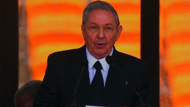 Cuban President Raúl Castro Ruz gives a tribute to Nelson Mandela at his public memorial on Tuesday, December 10, 2013.
