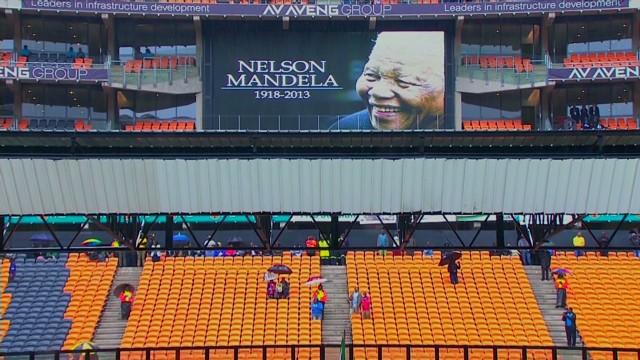 Gathering for Mandela's memorial