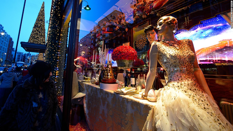 "<strong>""The Harrods Express,"" Harrods, London:</strong> The most stylish socialite on board dons an £80,000 ($131,570) Swarovski-encrusted gown by Ralph & Russo for dinner."
