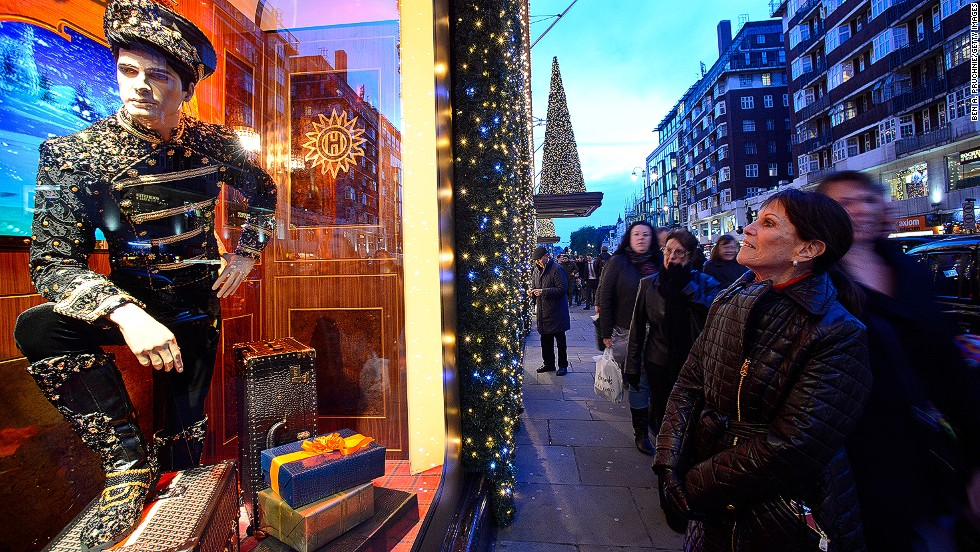 "<strong>""The Harrods Express,"" Harrods, London:</strong> The iconic Knightsbridge department store went with a hyperglamorized steam train theme this year. More than 50 people spent 500 hours creating ornate train scenes that include a piano bar and lavish dinner parties."