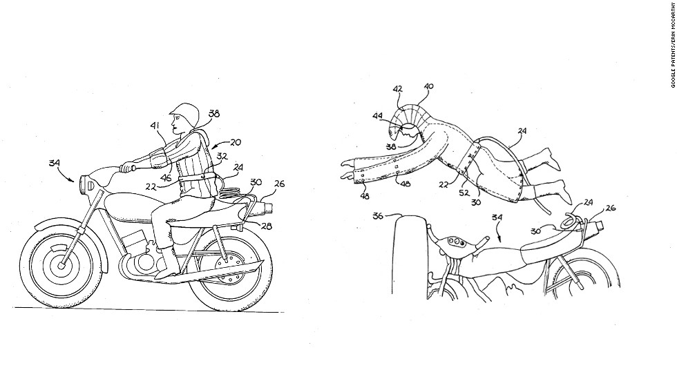"<strong>7. ""MOTORCYCLE SAFETY APPAREL""  </strong>Dismayed by how dangerous motorcycle crashes can be, Dan Kincheloe patented an inflatable safety suit in 1987. Basically an airbag for your body, the suit has an ""umbilical cord"" that connects to a supply of compressed gas. When a biker flies off, a shorter pull cord snaps that rapidly inflates the suit. Pro? It could save your life. Con? You'll look like the Stay Puft Marshmallow Man."