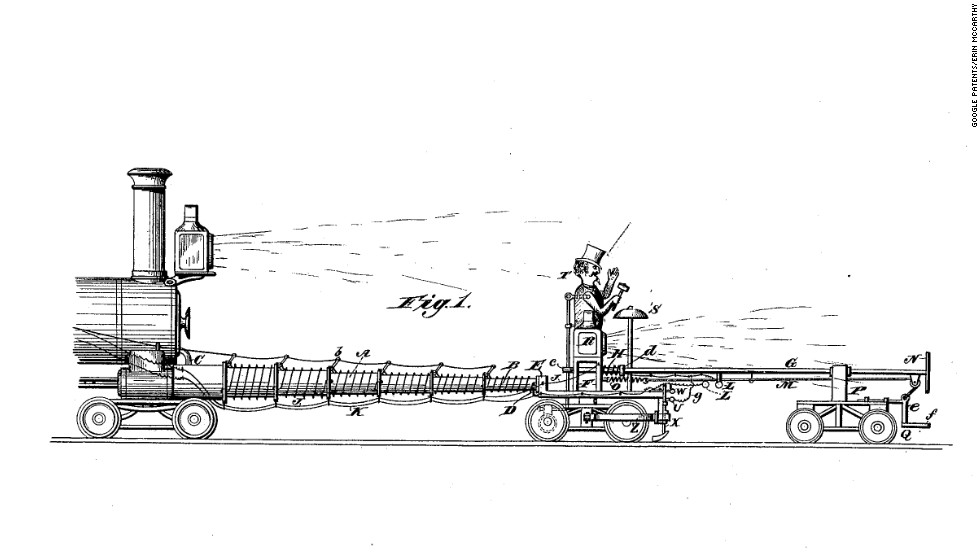 "<strong>3. ""APPARATUS FOR PREVENTING COLLISIONS OF RAILWAY TRAINS""  </strong>It's like a scarecrow—but for trains. Patented in 1888, J. W. James' invention features an electric dummy riding in front of the train. The dummy is ""made to throw up both hands at each revolution of the wheel and strike the gong with a hammer for the purpose of frightening cattle from the track and to announce the approach of the train,"" James wrote."