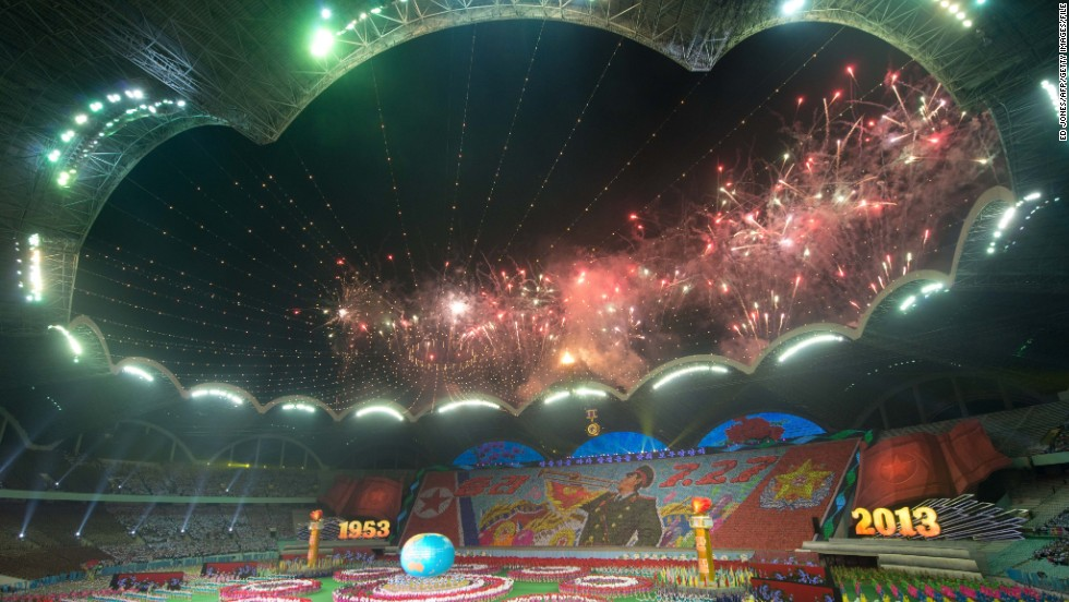 The Rungnado May Day Stadium in Pyongyang is the largest in the world.<br />It has a capacity of 150,000 and is pictured here during the Arirang Festival.