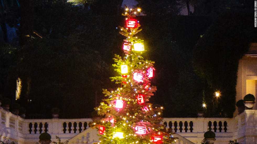 """Fendi """"bag bugs"""" festoon the fashion house's tree at the Hotel de Russie, Rome. Get up close and you'll hear it going """"mwah mwah"""" and making snotty comments in five languages."""