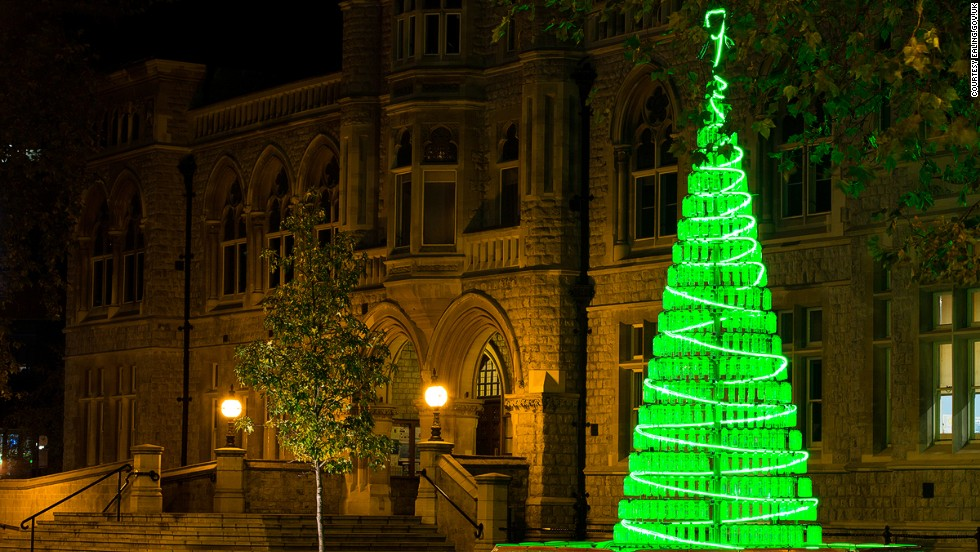 The 900 plastic bottles used to make this London tree were meant as a statement on Christmas consumerism. And a good one: 900 bottles sounds like a helluva lot.