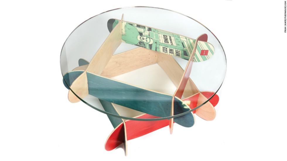 """A sophisticated take on teenage interests, like <a href=""""http://www.skatestudyhouse.com/html/comet_coffee_table.html"""" target=""""_blank"""">furniture made out of skateboards</a>, could be a gift that respects a teen's evolving tastes."""