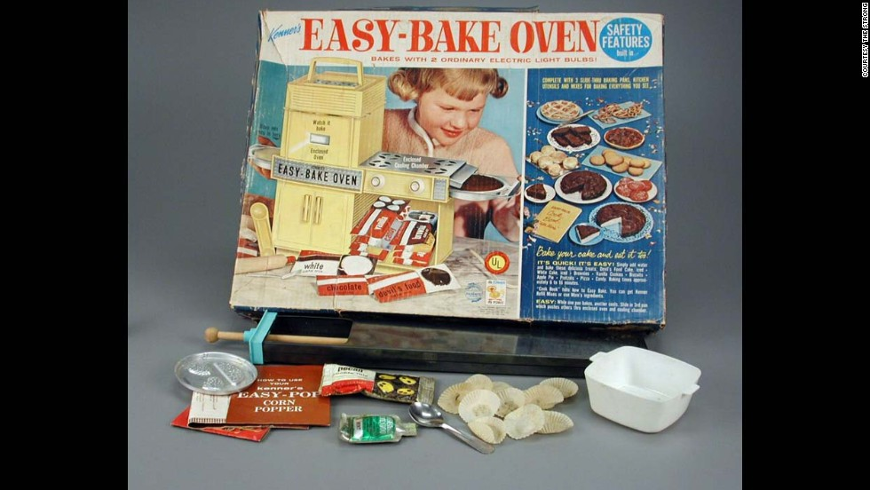 Easy-Bake Oven by Kenner in 1963. Stepping away from the manly games, the Easy-Bake oven was the first successful working oven for little girls and powered by a 100-watt light bulb. The very first oven was turquoise and had a carrying handle and fake stove top.
