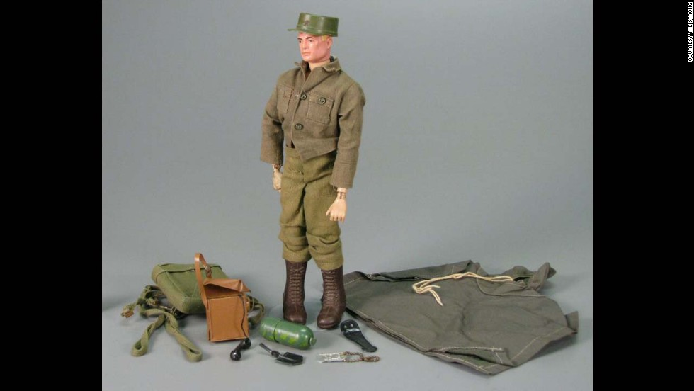 "G.I. Joe Action Soldier by Hasbro circa 1965.   G.I. Joe is ""America's Moveable Fighting Man."" With 21 moving parts and representing each of the four branches in the U.S. armed forces. The toy did $16.9 million in sales in its first year."