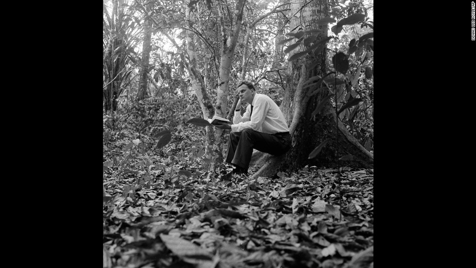 Graham sits in a jungle clearing a few miles from Ibadan, Nigeria, on February 1, 1960.