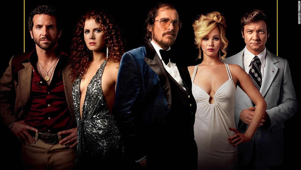 "Nominated for best motion picture -- comedy or musical were ""American Hustle"" (pictured), ""Her,"" ""Inside Llewyn Davis,"" ""Nebraska"" and ""The Wolf of Wall Street."""
