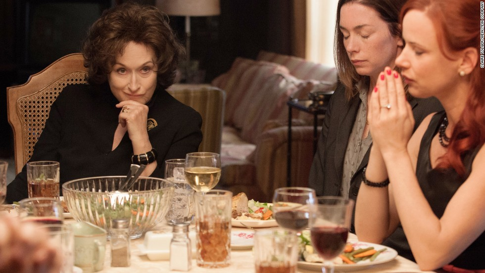 "Nominated for best actress in a motion picture -- comedy or musical were Meryl Streep in ""August: Osage County"" (pictured), Amy Adams in ""American Hustle,"" Julie Delpy in ""Before Midnight,"" Greta Gerwig in ""Frances Ha"" and Julia Louis-Dreyfus in ""Enough Said."""