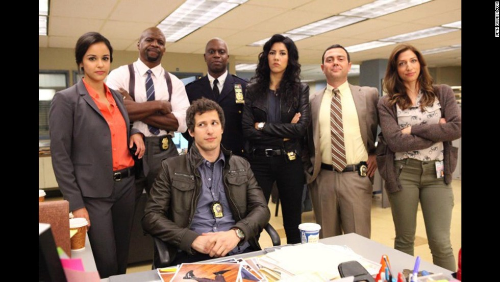 "Nominated for best television series -- comedy or musical were ""Brooklyn Nine-Nine"" (pictured), ""The Big Bang Theory,"" ""Girls,"" ""Modern Family"" and ""Parks and Recreation."""