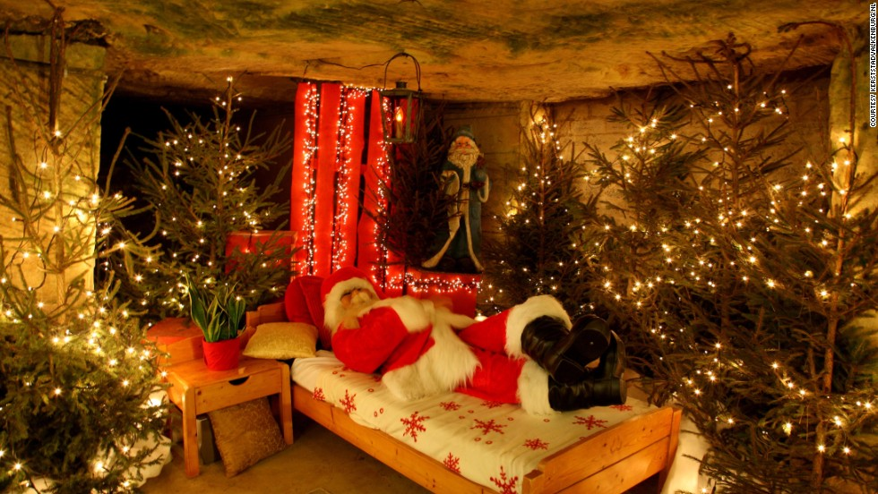 Valkenburg's Velvet Cave is transformed into a Christmas market and the residence of Santa, where visitors can see his room of presents and reindeer sleigh.
