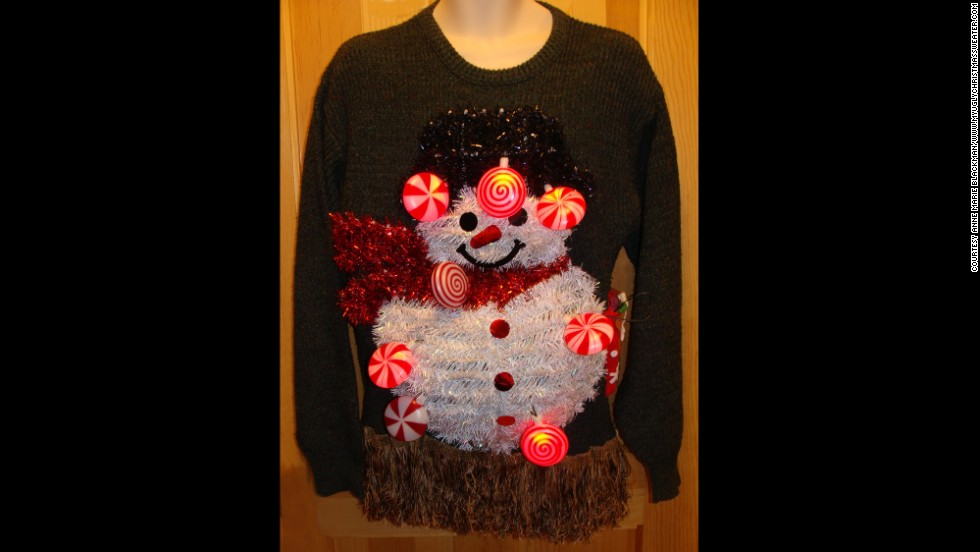 "LED lights are a recent touch to ""ugly"" holiday sweaters, Blackman said."