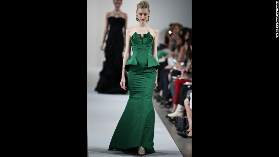 Oscar de la Renta's 2013 resort collection featured an elegant green formal dress, perfect for a black-tie party.