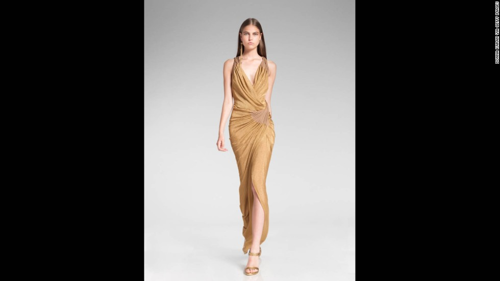 "Donna Karan's 2014 resort collection reflected the growing trend of metallic solids. A classic gold-and-black or silver-and-black outfit will work in a pinch when you're required to ""dress festively."""