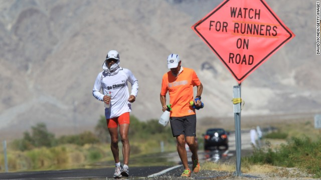 Runners take part in the ultramarathon in California.