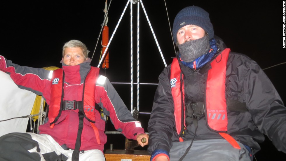 It was tough for Conway's support crew of Owain Wyn-Jones, Lou Barden and kayaker Emily Bell as they endured freezing temperatures during his night swims.