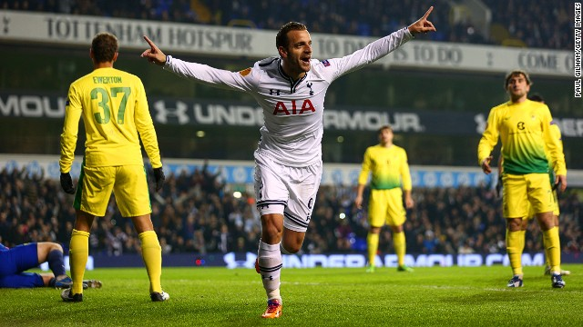 Spanish striker Roberto Soldado scored his first hat-trick for Tottenham Hotspur in the Europa League on Thursday.