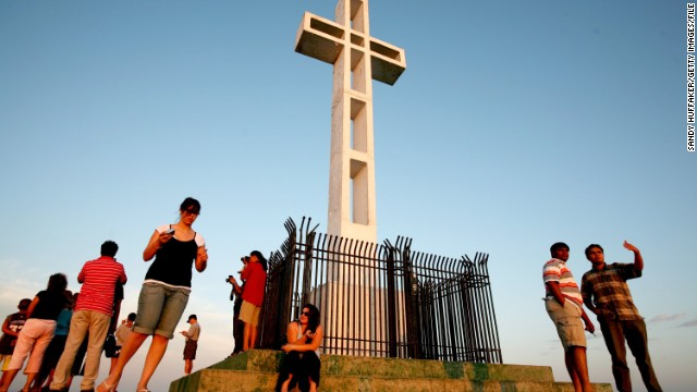 Visitors gather at the Mount Soledad Veterans Memorial in San Diego, California.