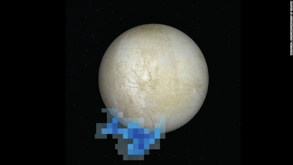 A graphic depiction shows the spot where the Hubble Space Telescope picked up water vapor over the south pole of Europa, one of Jupiter's moons.