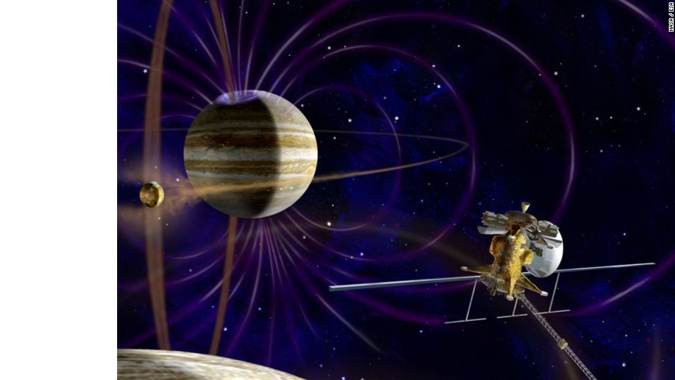 Space agencies want to send an orbiter to Europa and another of Jupiter's moons. An artist shows what this could look like.