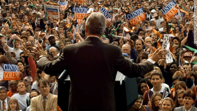 Bill Clinton, campaigning in Atlanta in 1996, was the last Democrat to win a state in the Deep South. He took Georgia in 1992.