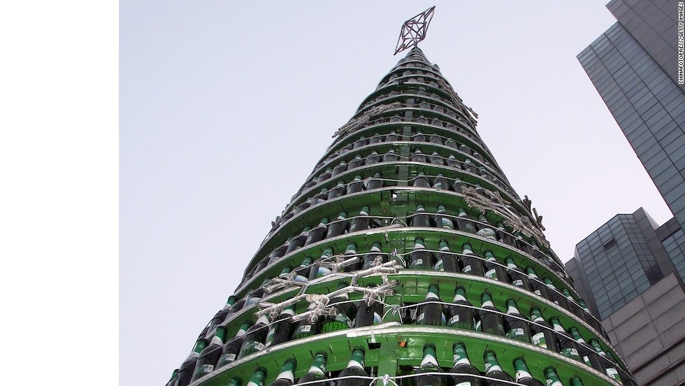A Christmas tree made of beer bottles can be found in China's city of Changzhou in Jiangsu province. Over 1,000 bottles were used on the the 22-story (10-meter) Christmas tree.