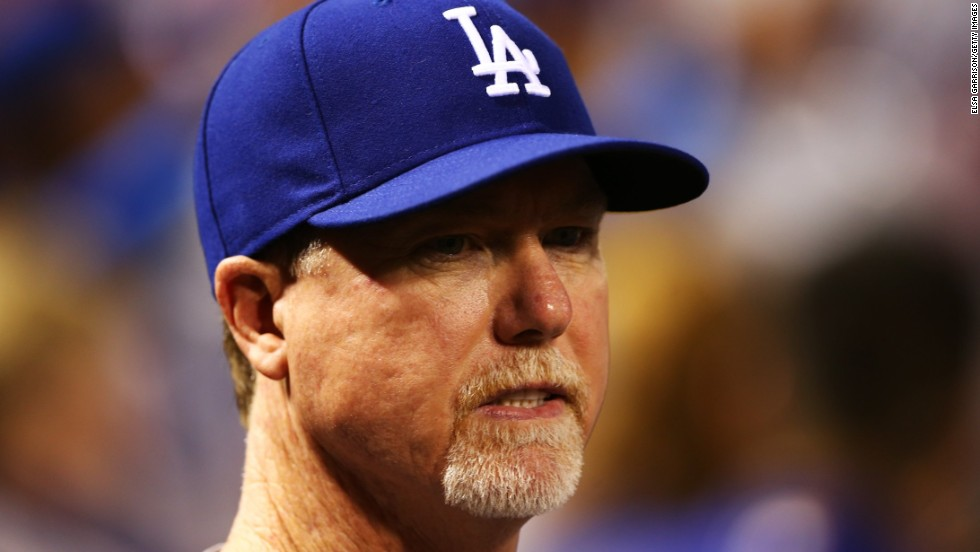 Former baseball slugger Mark McGwire, who is now batting coach  for the Los Angeles Dodgers, turned 50 on October 1.