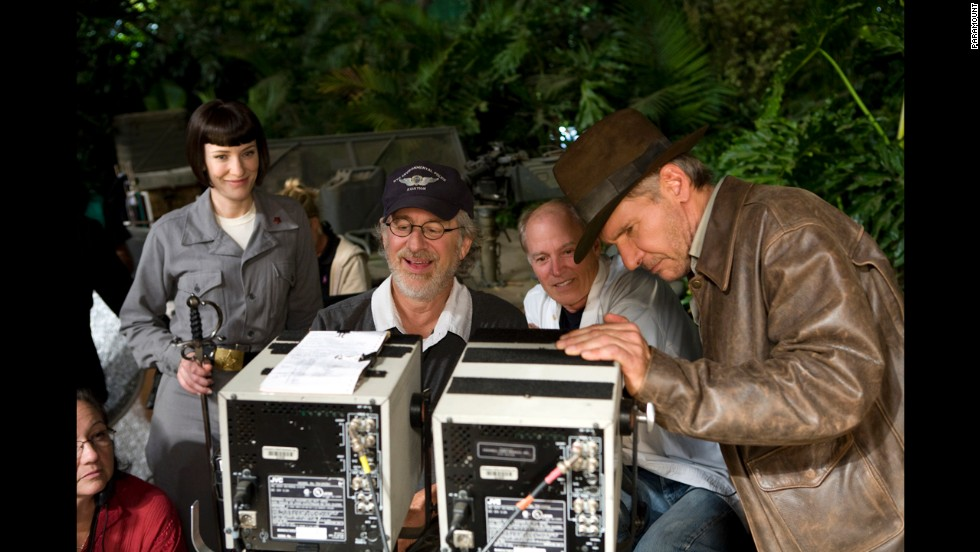"Actress Cate Blanchett, Spielberg, producer Frank Marshall and actor Harrison Ford appear on the set of the latest Indiana Jones film, ""Indiana Jones and the Kingdom of the Crystal Skull,"" in 2008."