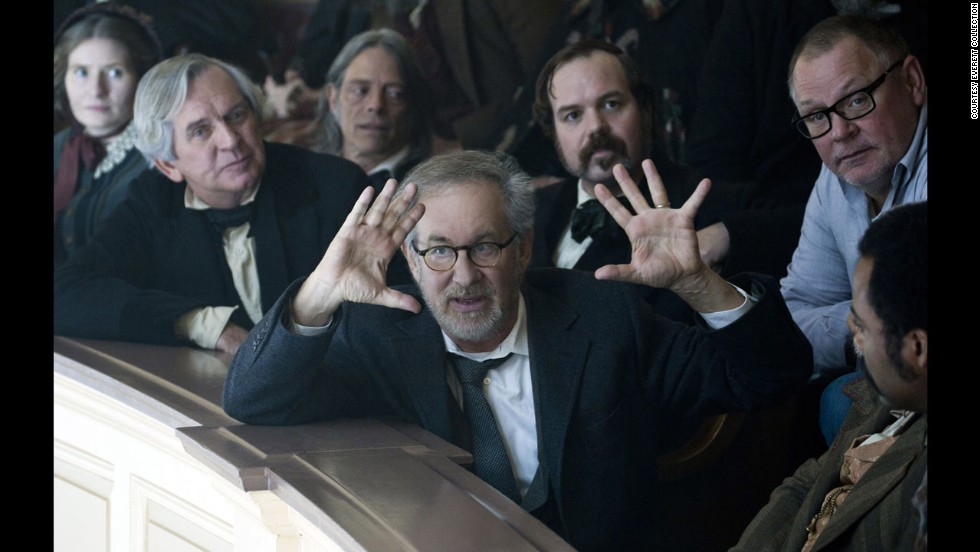 "Spielberg, center, on the set of ""Lincoln"" in 2012. Daniel Day-Lewis starred in the film as U.S. President Abraham Lincoln and became the first actor in a Spielberg movie to win the Academy Award for Best Actor."