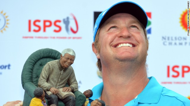 South Africa's Dawie van der Walt looks skywards after winning the Nelson Mandela golf championship.