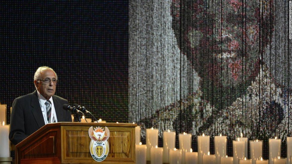 Anti-apartheid activist and close friend to Mandela, Ahmed Kathrada, speaks during the funeral ceremony.