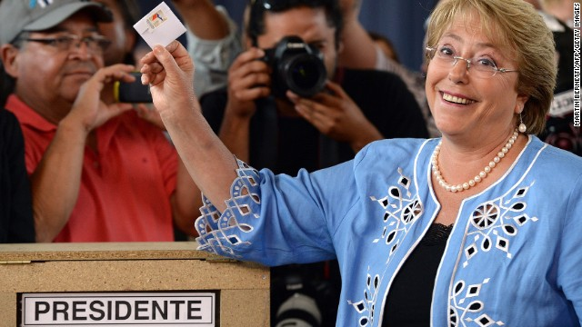 Chilean presidential candidate for the New Majority coalition Michelle Bachelet smiles before casting her vote at a polling station during the run-off presidential election in Santiago on December 15, 2013. Bachelet, who polls consider the favourite, is running against ruling coalition candidate Evelyn Matthei. AFP PHOTO/MARTIN BERNETTI (Photo credit should read MARTIN BERNETTI/AFP/Getty Images)