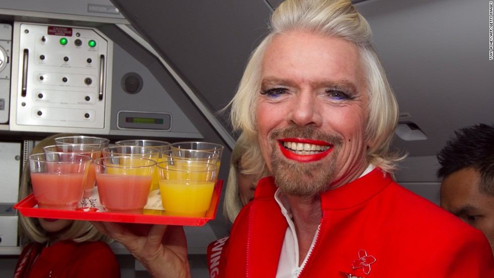 After losing a bet, Sir Richard Branson donned a flight attendant's skirt and high heels, then served drinks and chatted up passengers on an AirAsia X flight. The photos still haunt all who have been exposed to them. (Sorry.)