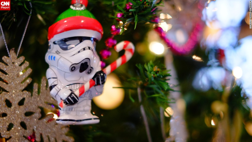 "<a href=""http://ireport.cnn.com/docs/DOC-1066229"" target=""_blank"">Daniel Incandela</a> started collecting quirky Christmas tree ornaments three years ago. This is one of his newest additions, a ""Star Wars"" Stormtrooper with a Christmas hat."