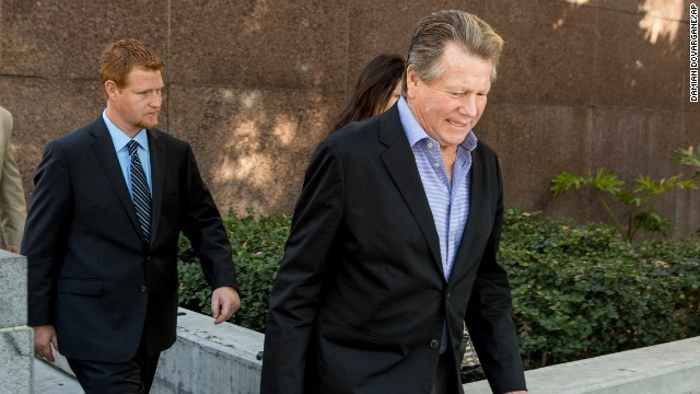 Ryan O'Neal, right, and his and Farrah Fawcett's son, Redmond O'Neal, testified in the trial.