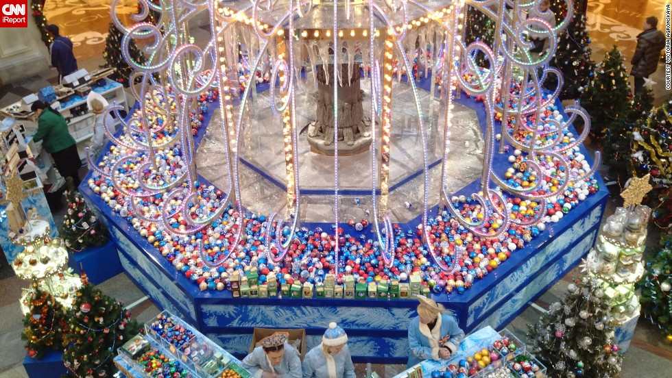 "<a href=""http://ireport.cnn.com/docs/DOC-1067293"" target=""_blank"">Victoria Agronskaya</a> discovered this beautifully decorated fountain in the GUM department store in Moscow, Russia. ""The GUM fountain is the most famous fountain in Moscow,"" Victoria explains. This year, the water has been replaced with Christmas toys and there is a small Christmas market surrounding it."