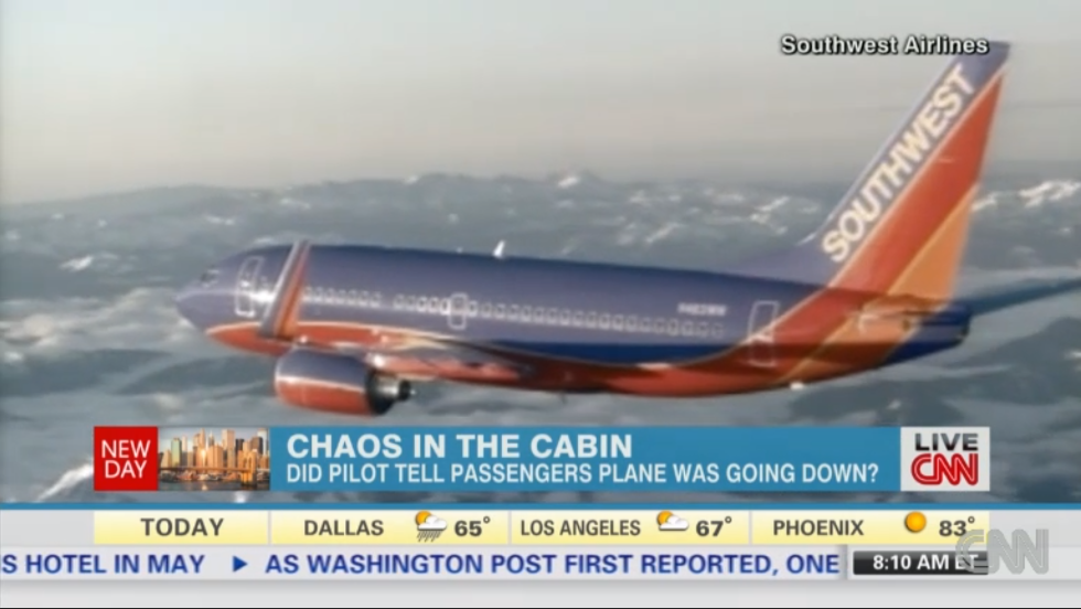 "Making a rapid descent, a Southwest Airlines pilot's intercom chatter shocked passengers. ""The panicked captain said, 'We're in trouble; we're going down,'"" a passenger told CNN. The Boeing 737 leveled out and made an emergency landing at Raleigh-Durham International Airport. Southwest said the passenger's report was inaccurate."