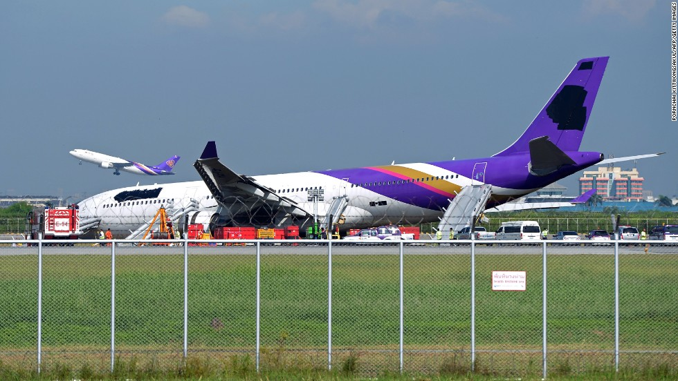 "A Thai Airways Airbus that skidded off a runway in Bangkok had its logos painted over by workers after the accident. The airline said it merely invoked an industry standard ""crisis communication rule"" in obscuring the logos."