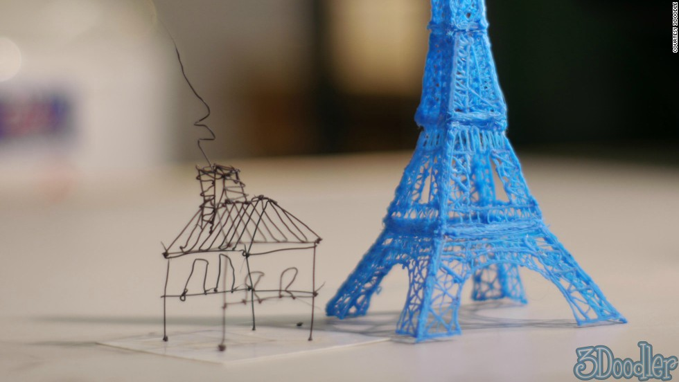 <strong><u>3Doodler<strong></strong></u> Pledged: $2,344,134 </strong>-- The 3Doodler really does bring childhood fantasy to life. Draw whatever you like in mid-air and it shall appear. Here's how it works: as the user draws in the air, 3Doodler extrudes heated plastic, which quickly cools and solidifies into a strong stable structure. It's the cheapest and easiest way to make 3printed models to date.
