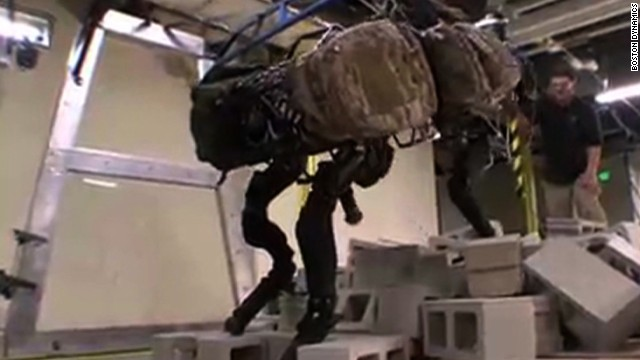 Google has acquired Boston Dynamics, a company known for developing super-fast, animal-like robots with strong ties to the U.S. military. Pictured is the BigDog robot which helps soldiers carry heavy equipment in the field.