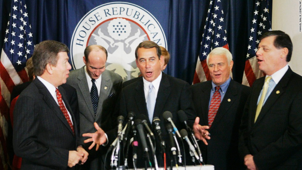 Boehner, center, and fellow Republican House members sing Boehner's birthday song during a news conference on Capitol Hill on November 17, 2006. Boehner served as the House Minority Leader from 2007 to 2011.