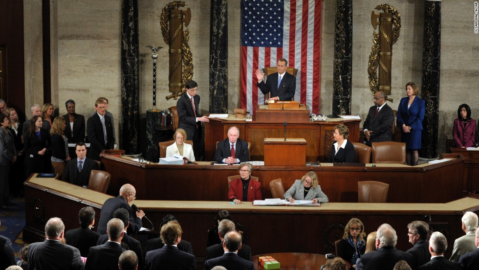 Boehner is sworn in as the speaker of the House after his re-election in January 2013.