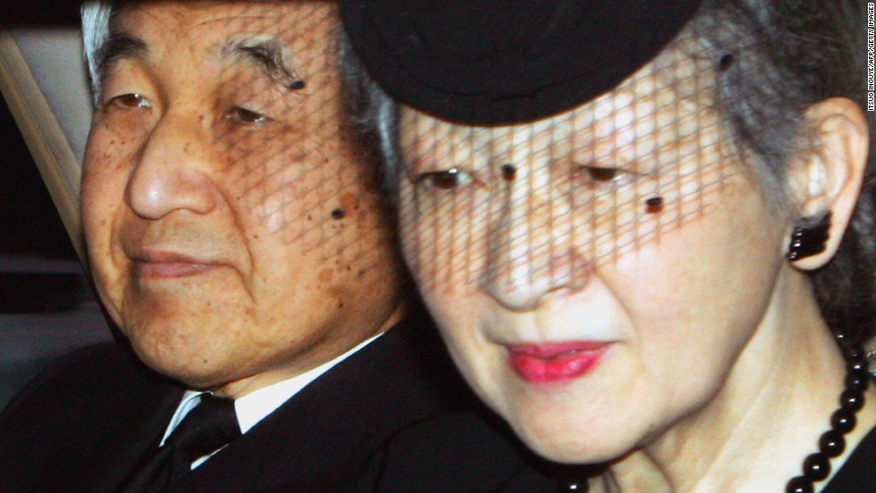 Emperor Akihito and Empress Michiko leave the residence of the late Princess Kikuko after paying their respects in Tokyo on December 19, 2004. The princess was Akihito's aunt.