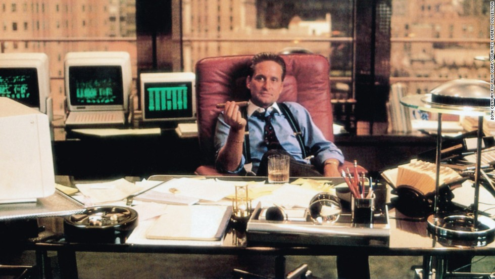 "Michael Douglas' Gordon Gekko is one of the defining characters of the '80s. The scheming, reptilian stock broker champions the phrase ""Greed is Good"" in 1987's ""Wall Street,"" and audiences -- not to mention Hollywood -- have yet to forget it."